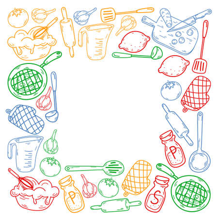 Vector sketch background with kitchen utensils, vegetables, cooking, products, kitchenware. Doodle elements. Vektorové ilustrace