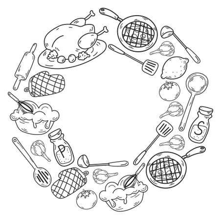 Vector sketch background with kitchen utensils, vegetables, cooking, products, kitchenware. Doodle elements. Ilustración de vector