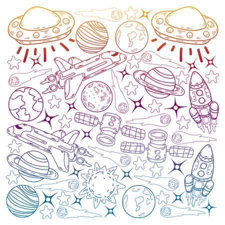 Vector doodle space pattern. Earth, Moon, Jupiter, Sun, Saturn.