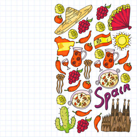 Spain travel. Pattern with spanish vector doodles elements. Eat spanish food. Play spanish guitar, dance flamenco. Traditional icons of bull, wine, dresses.