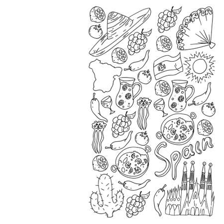 Spain travel. Coloring page. Pattern with spanish vector doodles elements. Eat spanish food. Play spanish guitar, dance flamenco. Traditional icons of bull, wine, dresses.
