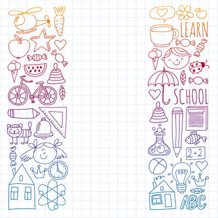 Back to School vector doodle set. Supplies for sport, art, reading, science, geography, biology, physics, mathematics, astronomy, chemistry.