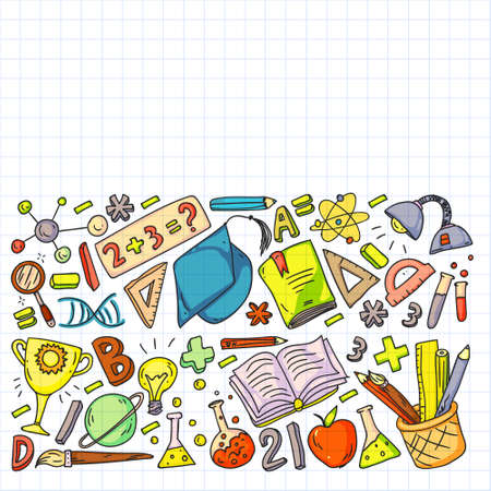 Back to School vector doodle set. Supplies for sport, art, reading, science, geography, biology, physics, mathematics, astronomy, chemistry. Vector Illustration