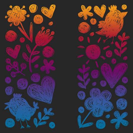 Children kindergarten pattern with flowers and birds. Kids floral vector llustration.