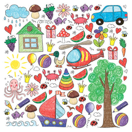Vector kindergarten pattern with helicopter, house, toys, ship. Boys and girls online education.
