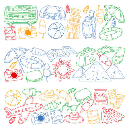 Vector pattern with travel icons. Great vacation, holidays. Hot air balloon, suitcase. Adventures and travel.