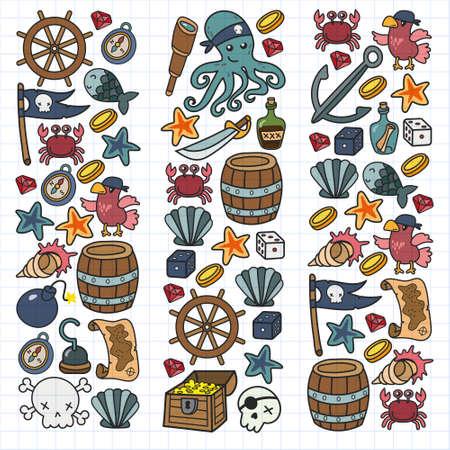 Children pirate party. Symbols of piracy - hat, swords, guns, treasure chest, ship, black flag, jolly roger emblem, skull and crossbones, compass.