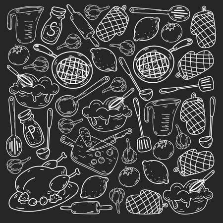 Vector sketch background with kitchen utensils, vegetables, cooking, products, kitchenware. Doodle elements.