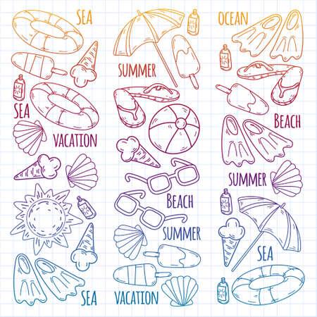 Summer, travel. Sea, ocean, beach. Vector pattern.