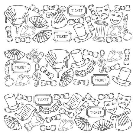 Pattern with vector symbols and icons of theater. Performance. Mask, top hat, tickets.