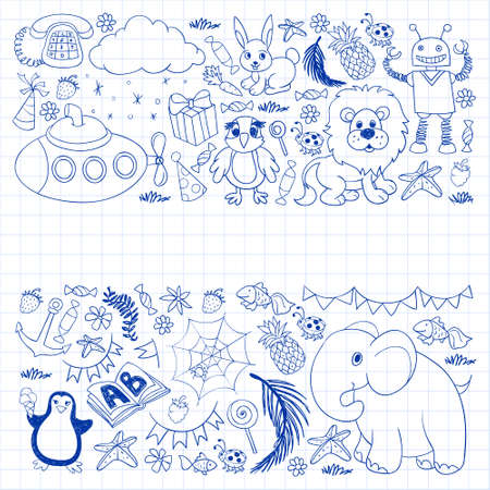 Vector kindergarten pattern with animals and toys. Illustration for little boys and girls.