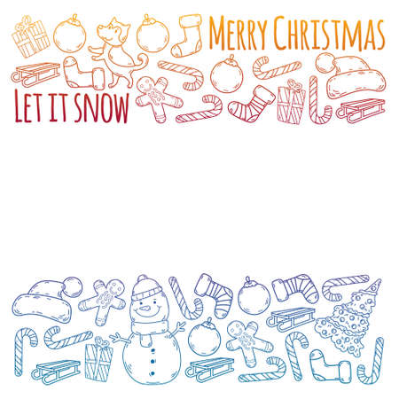 Christmas winter vector background with children. Kids vacation and sport.