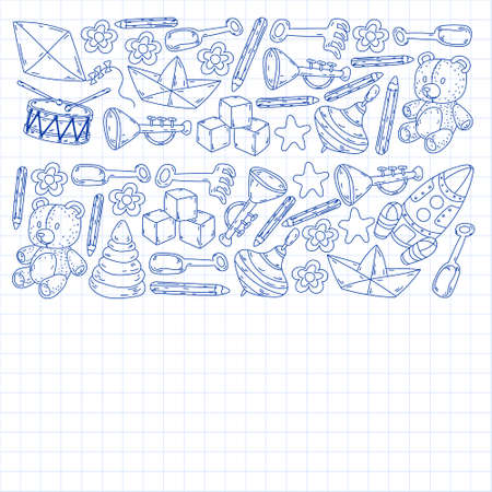 Icons for little boys and girls. Hand drawn children drawings pattern. Kindergarten toys background. Vector illustration.