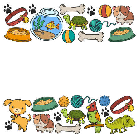 Veterinary clinic, zoo, pet shop. Cats, dogs, fish, parrot. Toys for animals, animal care.