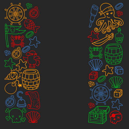 Children pirate party. Symbols of piracy - hat, swords, guns, treasure chest, ship, black flag, jolly roger emblem, skull and crossbones, compass. 版權商用圖片