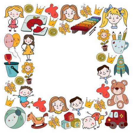 Kindergarten and toys. Little children game. Kids playground. Education, creativity, imagination. Vector Illustration