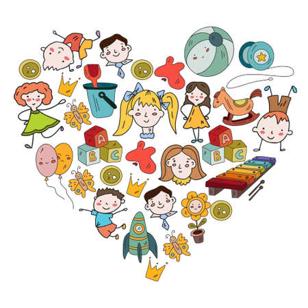 Kindergarten and toys. Little children game. Kids playground. Education, creativity, imagination.