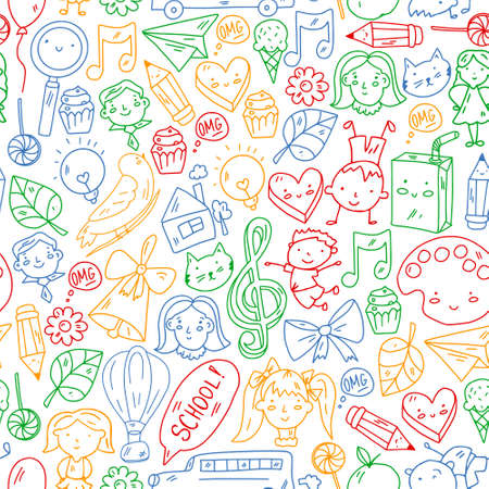 Vector seamless pattern with items for school. Online internet education, e-learning. Vettoriali