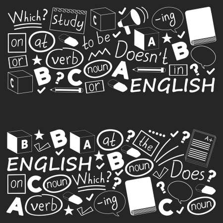 Concept of learning English. Flat design, vector pattern.
