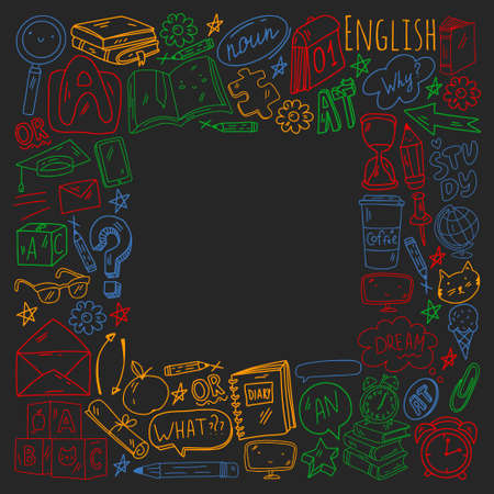 Concept of learning English. Online language courses. E-learning. Pattern with vector icons.