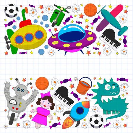 Vector pattern with toys for kids. Car, ufo, alien, airplane, teddy bear. Ilustración de vector