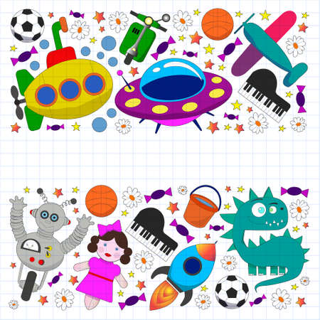 Vector pattern with toys for kids. Car, ufo, alien, airplane, teddy bear. Ilustracje wektorowe
