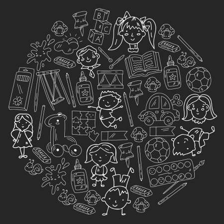 Kindergarten. Vector pattern with toys and small children. Preschool education. 矢量图像