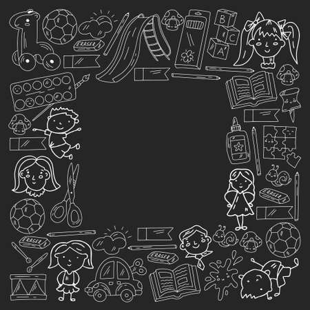 Kindergarten. Vector frame with toys and small children. Preschool education.
