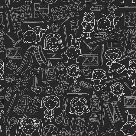 Kindergarten. Vector seamless pattern with toys and small children. Preschool education.