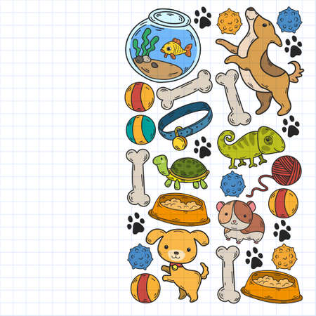 Veterinary clinic, zoo, pet shop. Cats, dogs, fish, parrot. Toys for animals, animal care. Illustration