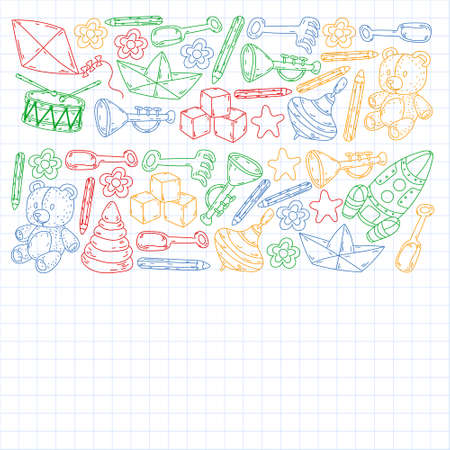 Icons for little boys and girls. Hand drawn children drawings pattern. Kindergarten toys background. Vector illustration. Çizim