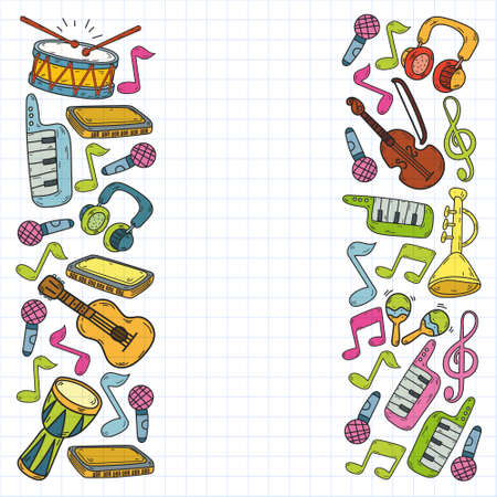 Vector music background with musical instruments. Rock, piano, guitar, jazz. Melody and microphone. Concert.