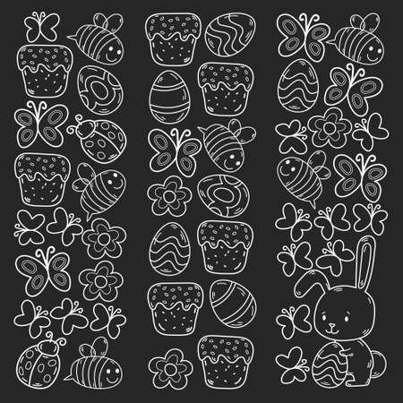 Easter traditional symbols collection - eggs, bunny, flowers, cake, flowers. Egg decorating. Vector drawings set. Çizim