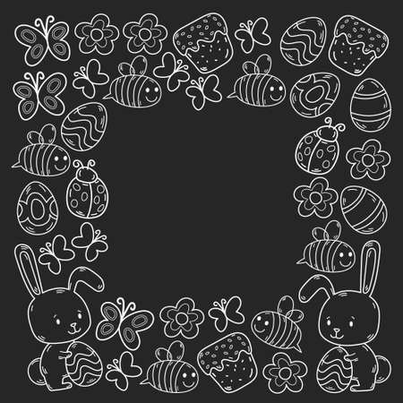 Easter traditional symbols collection - eggs, bunny, flowers, cake, flowers. Egg decorating. Vector drawings set. Stock Illustratie