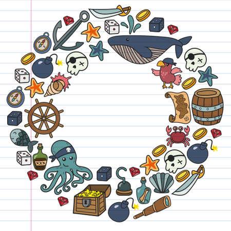 Children pirate party. Symbols of piracy - hat, swords, guns, treasure chest, ship, black flag, jolly roger emblem, skull and crossbones, compass. Vektorgrafik