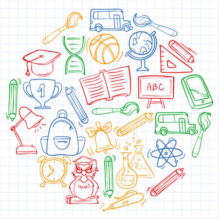 Vector doodle icons and pattern for back to school posters and banners