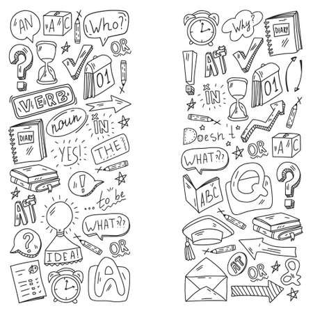 E-learning, online education in internet. Doodle vector pattern. Illustration of learning English language.