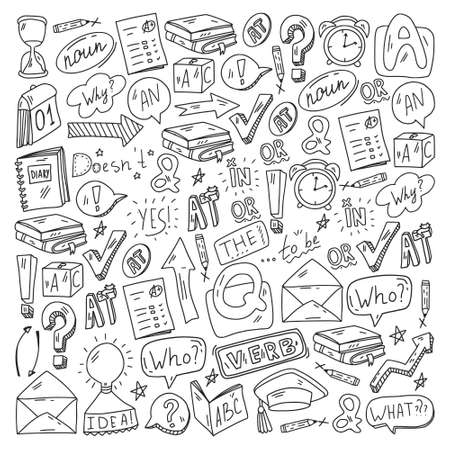 Doodle vector pattern. Illustration of learning English language. E-learning, online education in internet.