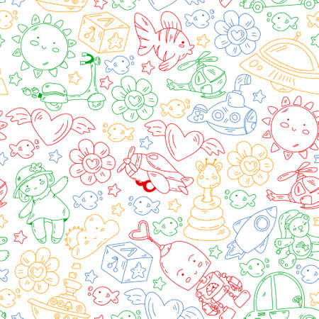 Kindergarten, toys vector pattern. Little children creativity and imagination. Online education, educational games.