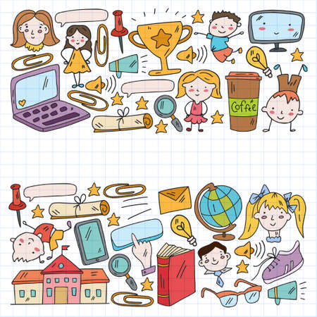 Vector pattern with school icons. Internet education, e-learning. Digital technology. Vecteurs