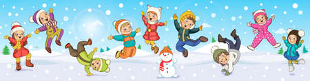 Children playing in winter. Merry Christmas and Happy new year. Leaflet, poster, banner.