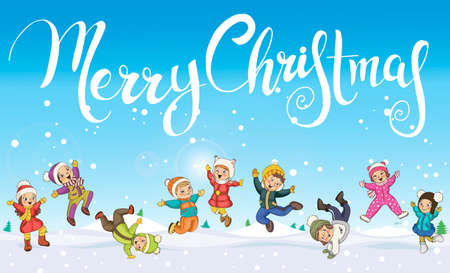 Merry Christmas Happy children. Little kindergarten kids with snow landscape and snowflakes 矢量图像