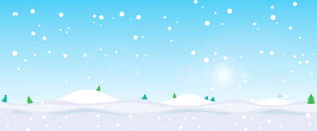 Elegant Christmas background with snowflakes and place for text. Happy new year snow landscape.