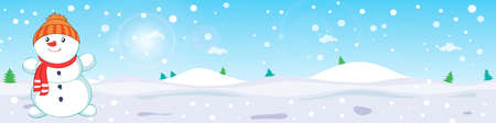 Winter landscape with a snowman with a scarf. Flat vector design illustration for leaflet and banners
