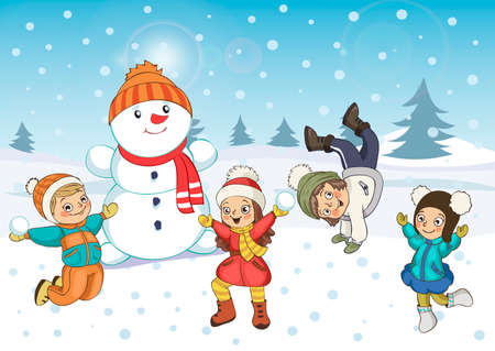 Winter fun. Children building snowman. Winter holidays. Merry Christmas and happy new year