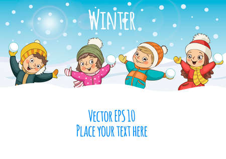 Children Playing Snow Together, Activity, Travel, Winter, Season, Vacation, holiday. Merry Christmas and happy new year.