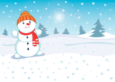Vector Illustration of an Christmas Greeting Card with Sparkling Stars and a Snowman