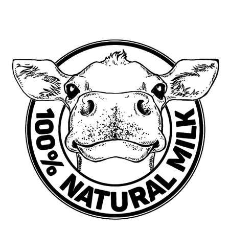Cows head. Natural Milk. Dairy farm. Vintage vector engraving illustration for label, poster. Isolated on white background Ilustração