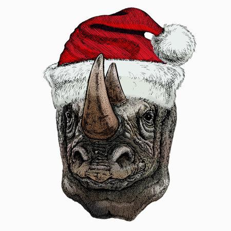 Vector portrait of rhinoceros, rhino. Christmas red Santa Claus hat. Wild african animal.