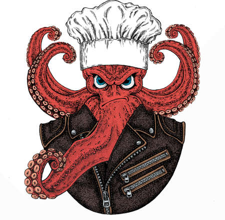 Octopus vector portrait. Chef cook hat. Restaurant logo. Sea marine creature, beast.